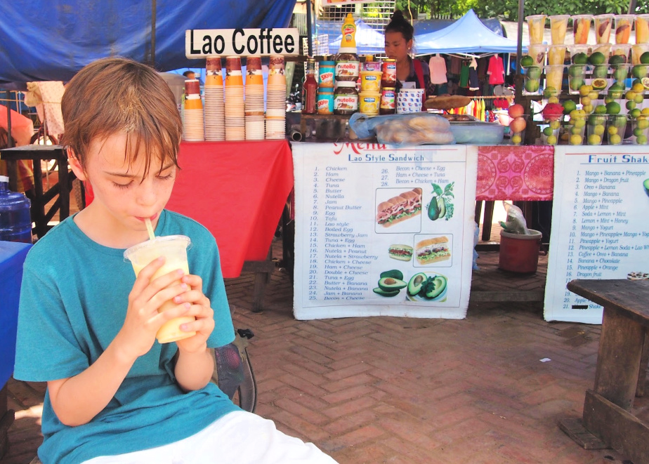 Shakes and coffee street food in Laos