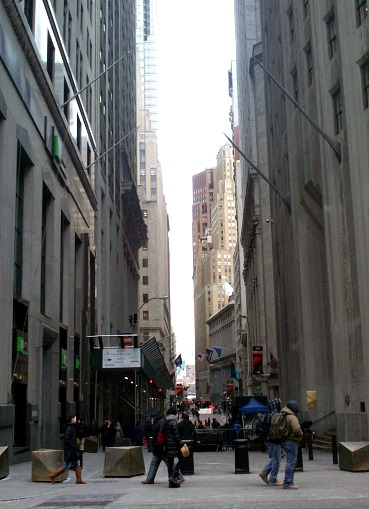 Love being able to walk along wall street with no cars.