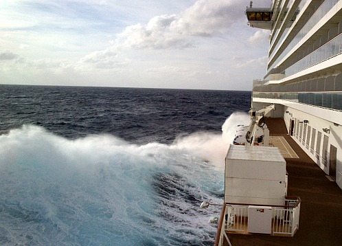 20 foot waves photographed from the 8th deck on Getaway's maiden transatlantic cruise.