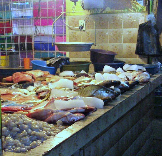 fish stall in Antigua market