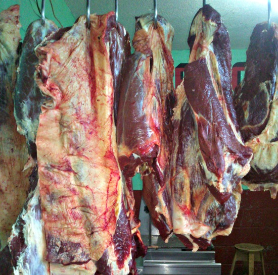 hanging beef at Antigua Market