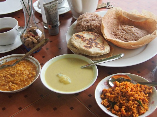 Sri Lankan breakfast food. World food photos at World Travel Chef.