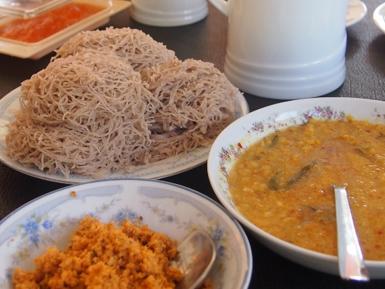 Sri Lankan breakfast food at a hotel in Galle heavily utilises  idiyappam flour in many of its ingredients.