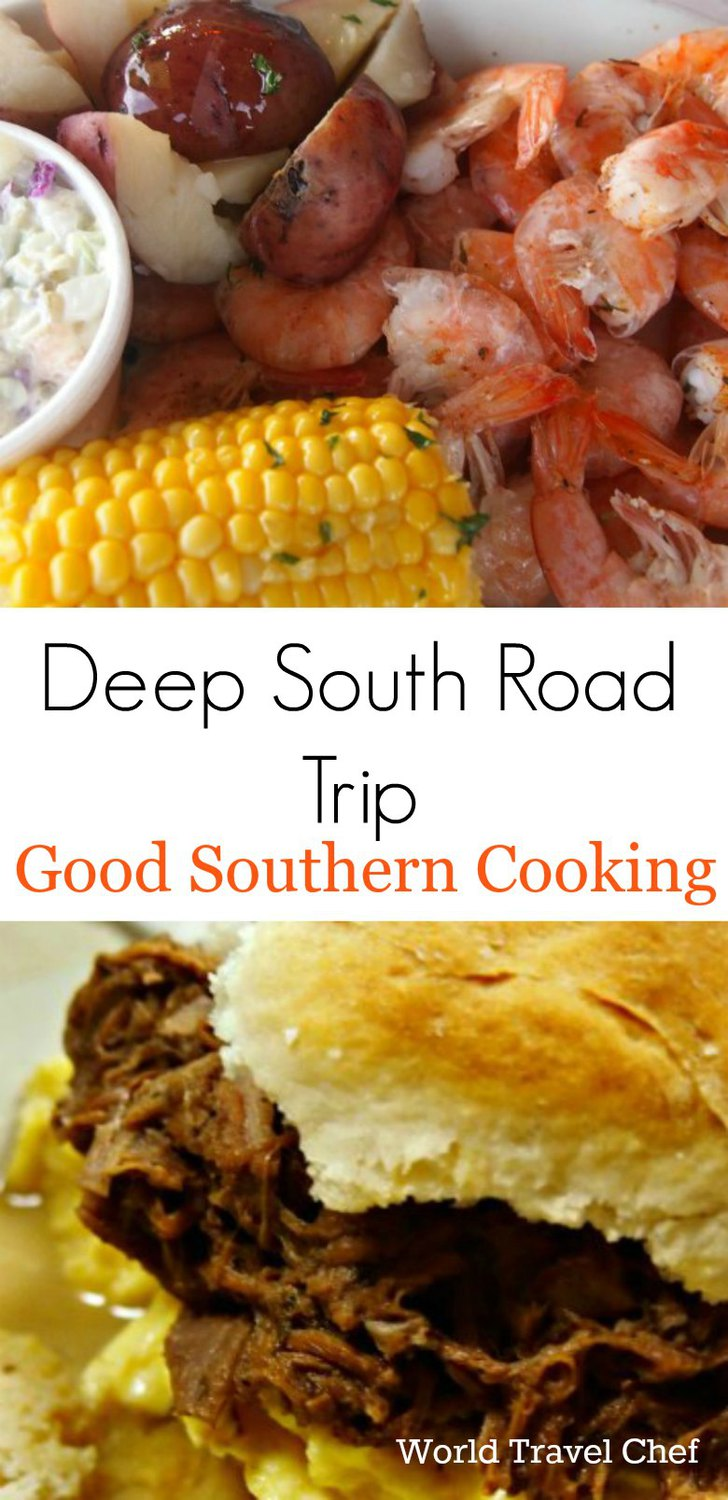 A taste of the south. Good Southern Cooking on a Deep South Road Trip from World Travel Chef Food America USA.