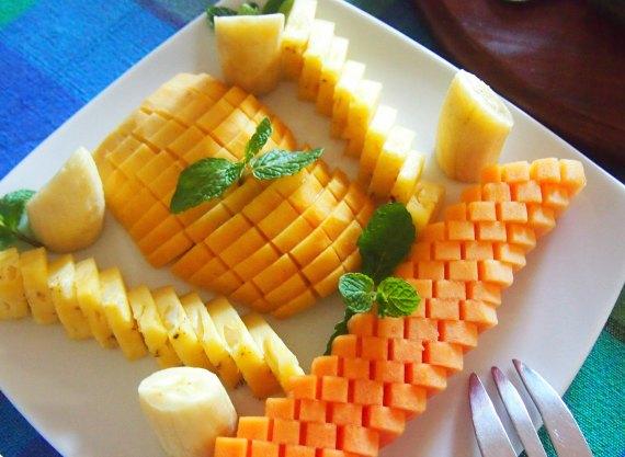 Sri Lankan Fruits. Typical breakfast plate of fruit in Sri Lanka