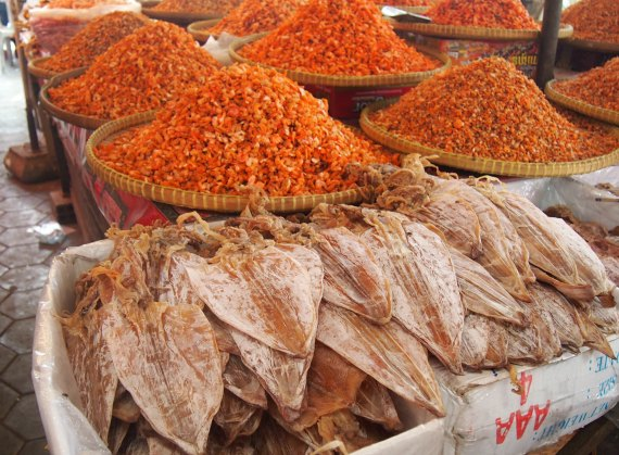 dried squid and prawns Kep Cambodia