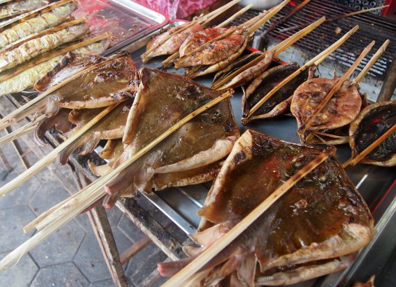 ray on a stick Kep crab market
