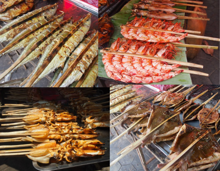 Cambodian street food barbecued fish and seafood