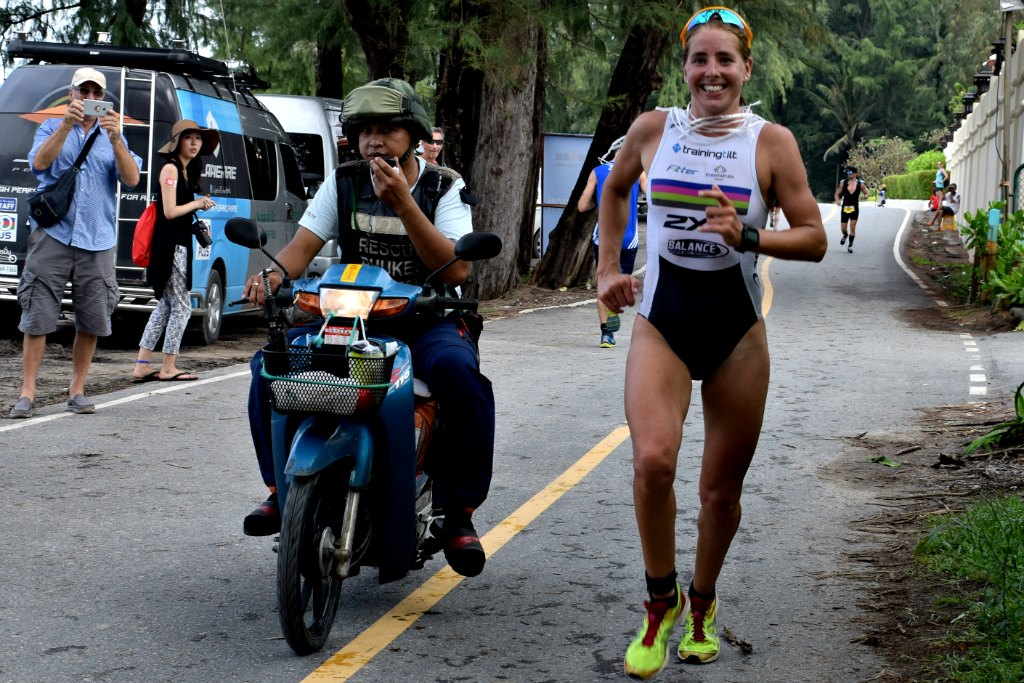 Amelia Watkinson of New Zealand on the way to winning the Female pro section of Ironman Thailand.