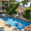Hotel pool in Flores.