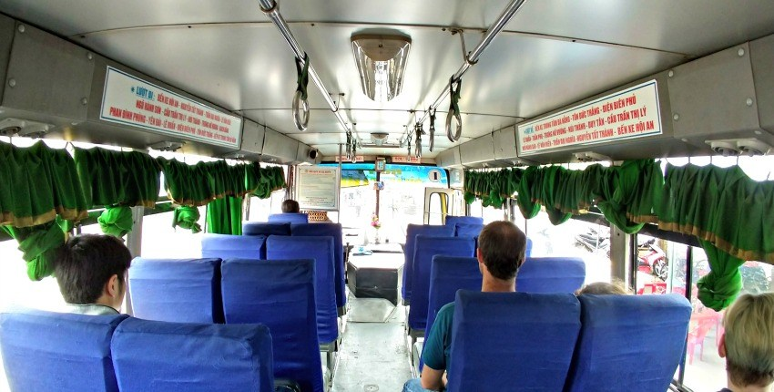 Inside a bus between Danang and Hoi An