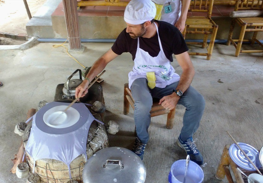 Making Rice Paper in Hoi An Eco Cooking Class